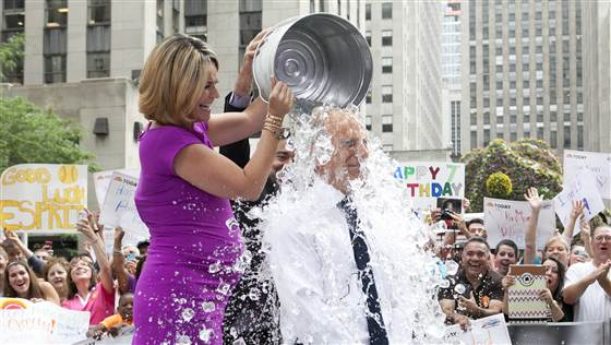 Matt Lauer takes a cold shower on national television. (NBC Photo)